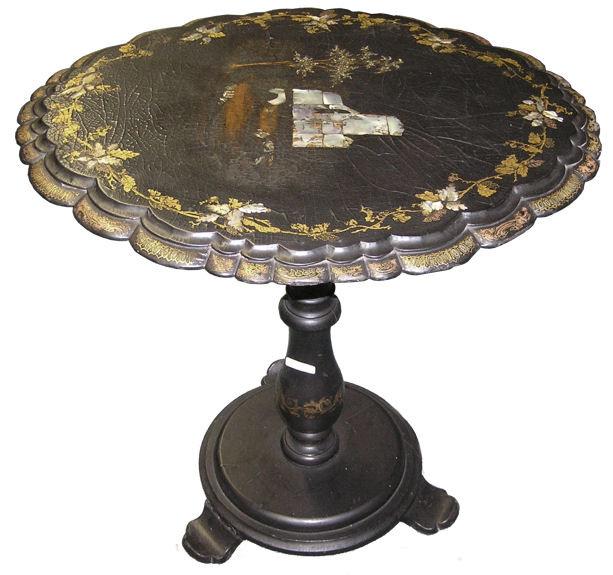 Japanese Papier Mache Lacquered Tilt-Top Table