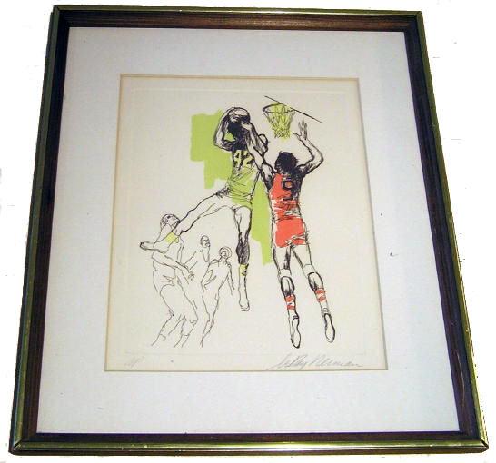 Leroy Neiman Artist Proof Basketball Etching