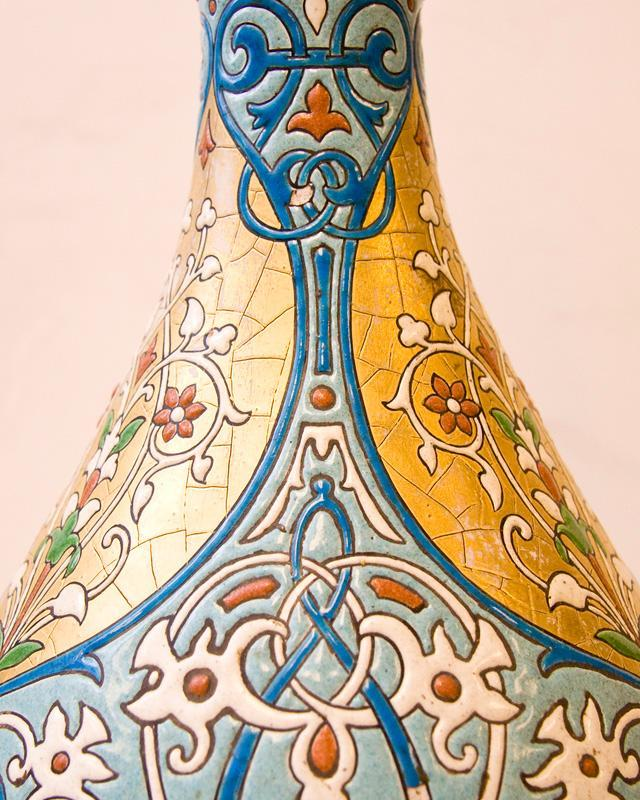Antique Longwy Ottoman Orientalist Style Faience Pottery Vase Lamp