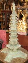 Antique Chinese Serpentine Stone Buddhist Pagoda 36 in (92 cm)