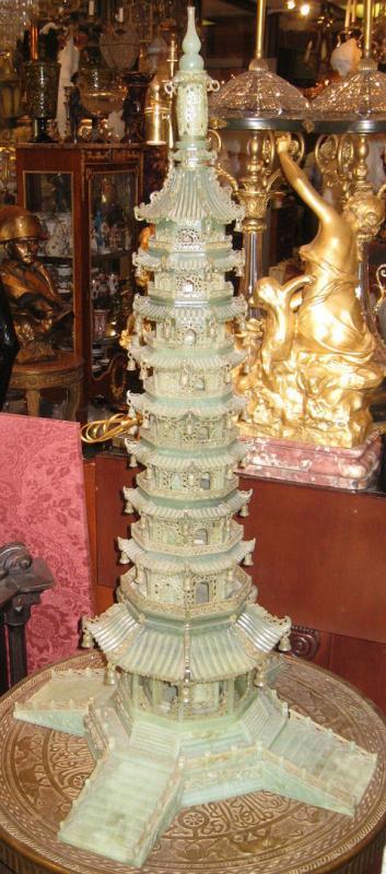 Antique Chinese Serpentine Stone Buddhist Pagoda 36 in (92 cm)