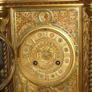 Antique French Napoleon III Gilt Metal Jewelled Mantle Clock