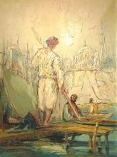 Orientalist Constantinople Istanbul Harbor Oil Painting by Bevort