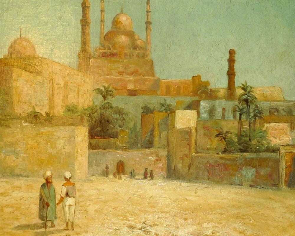 Citadel of Cairo Fontville de Breanski Jr Orientalist Oil Painting