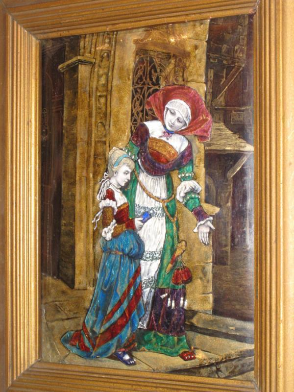 Antique Limoges French Enamel Plaque Medieval Court Scene