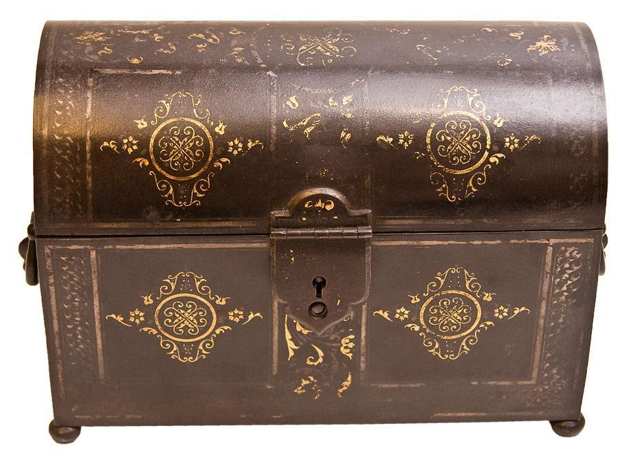 Antique Islamic Middle Eastern Damascene Steel Letter Box or Strong Box