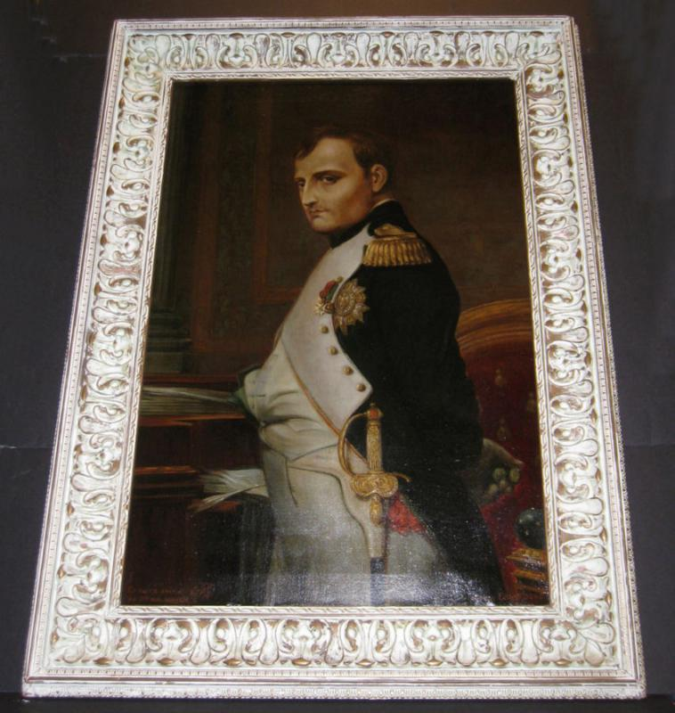 Antique Napoleon Portrait Oil Painting After Delaroche by Sellier Dated 1915