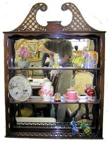 Vintage Mahogany Hanging Curio Cabinet