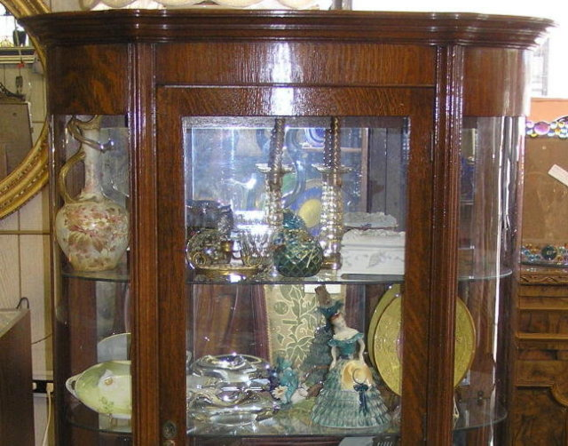 Antique Victorian Oak Vitrine China Cabinet