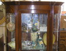 Antique Victorian Oak Vitrine China Cabinet