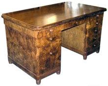 Art Deco Mid-Century Walnut Kneehole Desk