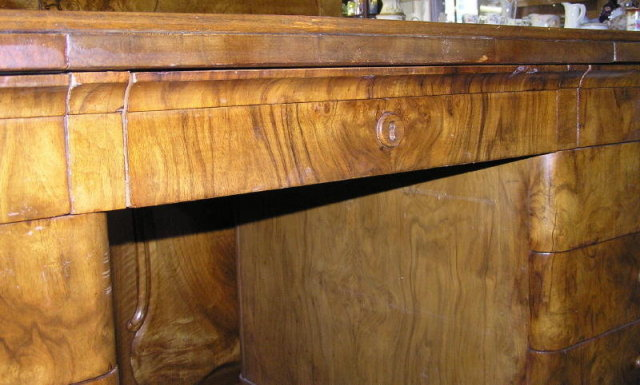 Art Deco Mid-Century Walnut Kneehole Desk
