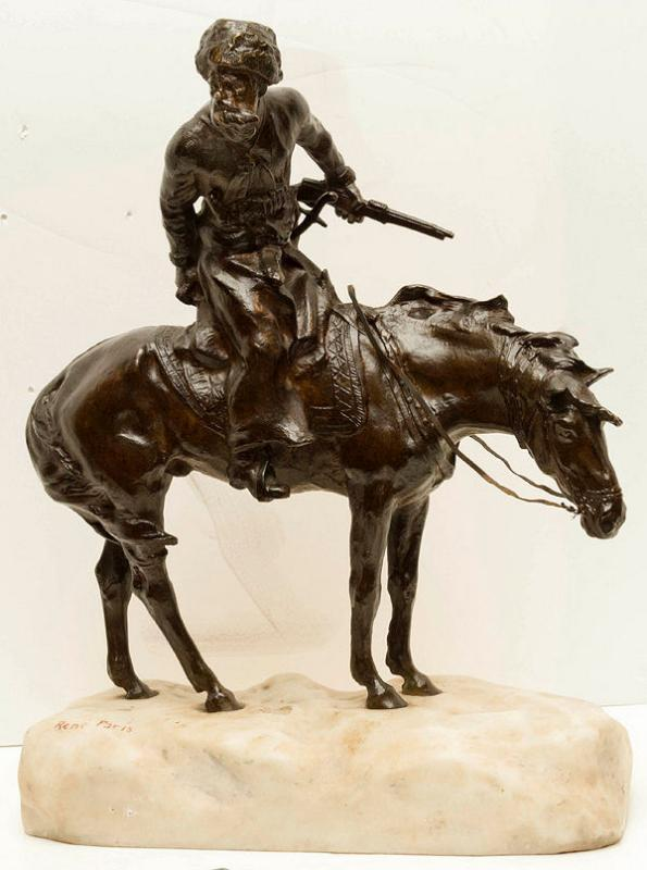 Antique Bronze Marble Figurine Sculpture of Russian Cossack on Horseback by RENE