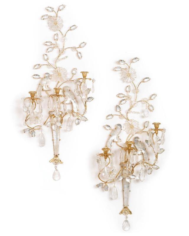 Pair Bagues Style Rock Crystal Gilt Metal Wall Appliques Sconces