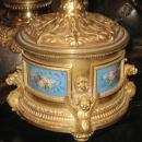 Pair Antique French Rococo Louis XV Style Ormolu Bronze Ewer Lamps After Clodion