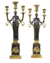 Pair Antique Figurative French Directoire Period Gilt Bronze Candelabra
