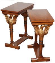 Pair Vintage Regency Federal Style Parcel Gilt Side or End Tables
