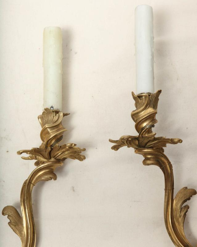 Set of 4 Gilt Bronze French Rococo Louis XV Style Wall Sconces