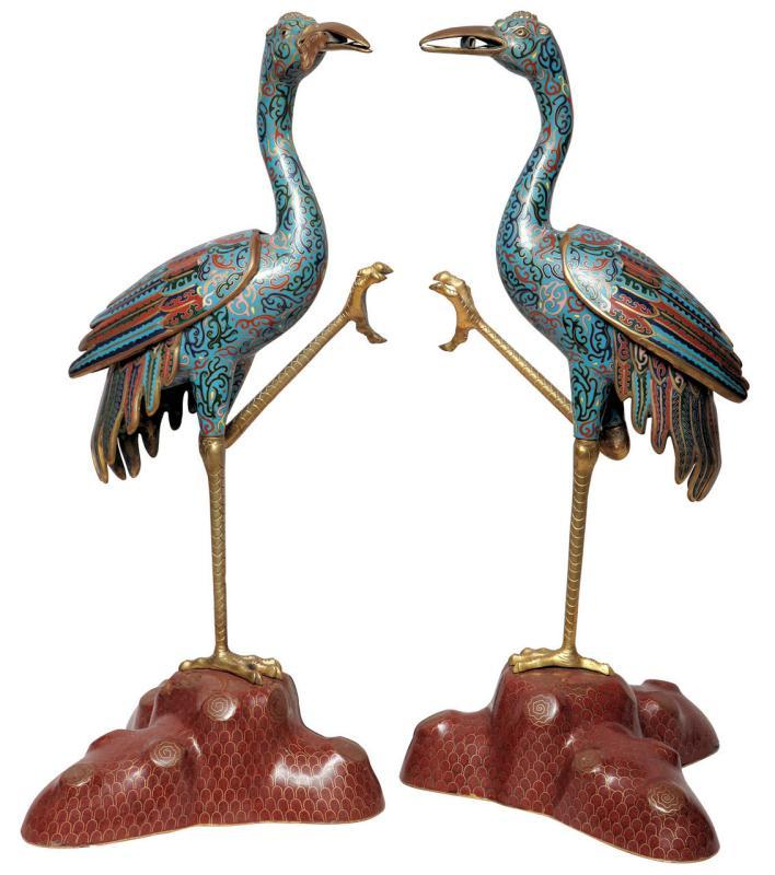 Pair Antique Chinese Cloisonne Crane Figures Censers Incense Burners