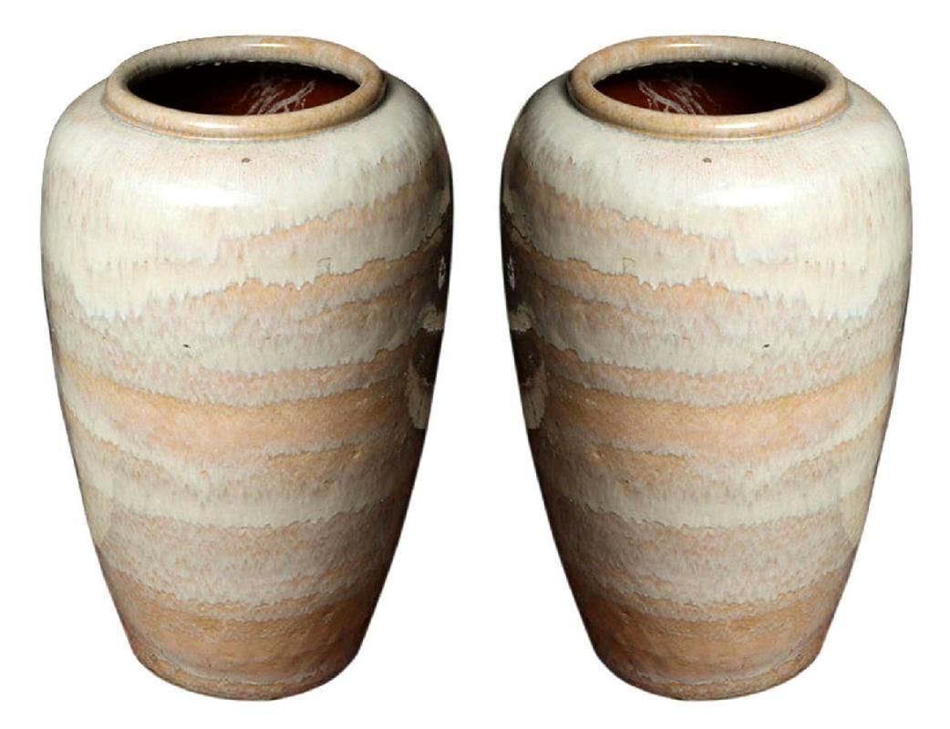 Antiques art vintage pair large glazed pottery or terracotta floor vases jardinieres reviewsmspy