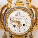 Antique Louis XVI Style Gilt Bronze & Marble Mantel Clock Garniture