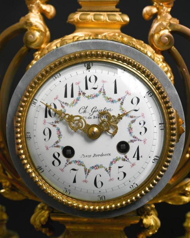 Antique Louis XVI Style Gilt Bronze & Marble Mantel Clock Garniture