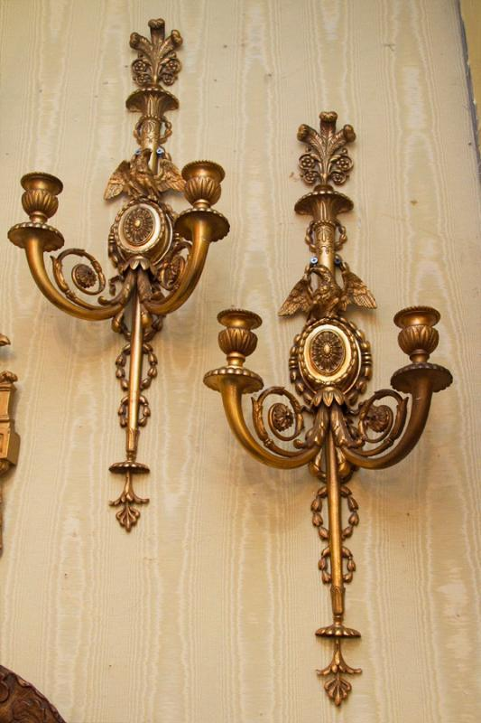 Pair English Regency Style Gilt Bronze Sconces Wall Appliques