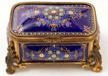 Antique French Enamel & Bronze Dresser Box Jewelry Casket Box