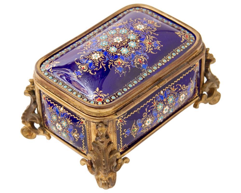 Antique French Enamel & Bronze Dresser Box Jewelry Casket Box