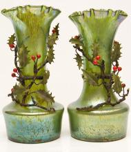 Pair Bohemian Iridescent Oil Spot Glass Vases with Metal Holly Branches Attributed to Loetz