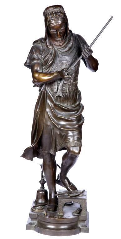 French Orientalist Bronze Sculpture of Turkish Gun Merchant by Gueyton