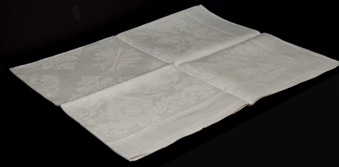 Set Emperor Alexander III and Tsar Nicholas II Imperial Russian Commemorative Table Linens