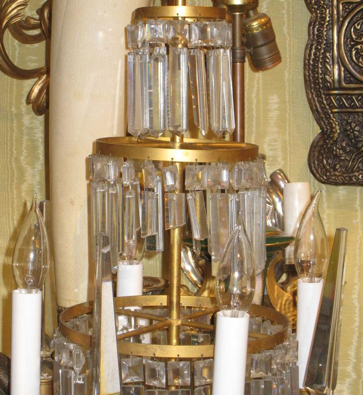 Pair Russian Bronze & Crystal Girandole Candelabra Table Lamps