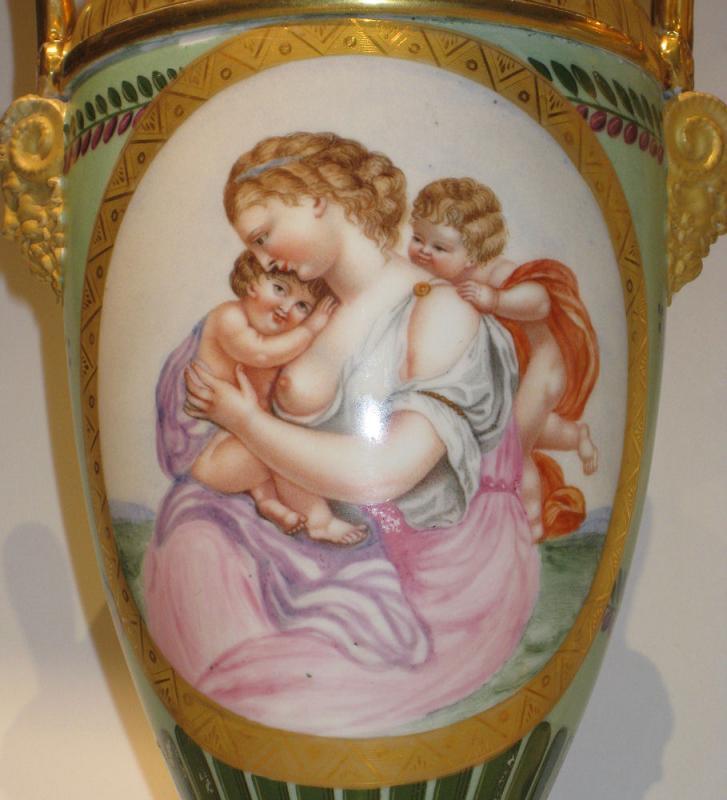 Pair Antique Paris Porcelain Greek Revival Potpourri Vases