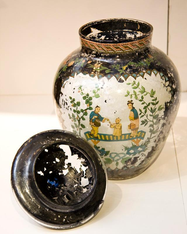 Pair Antique Japonaiserie Chinoiserie Chinese French Verre Eglomise Glass Jars Vases