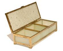 Antique Jade Glass and Gilt Metal Jewelry Box Casket