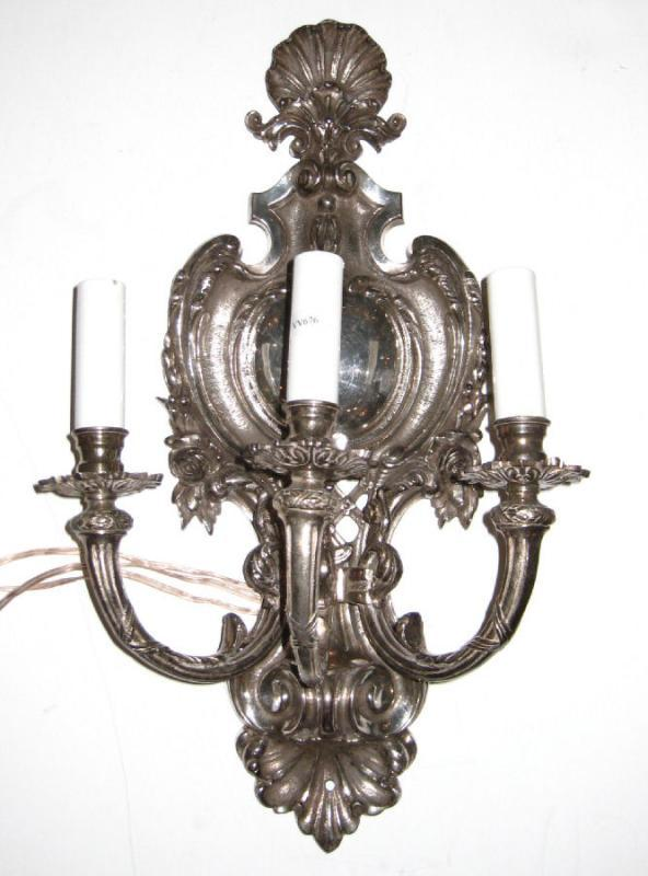 Pair of Regency Style Silvered Bronze Shield-Back Sconces with Shell Motif