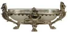 Antique Greek Revival Christofle Attributed Silvered Bronze and Matte Crystal Centerpiece