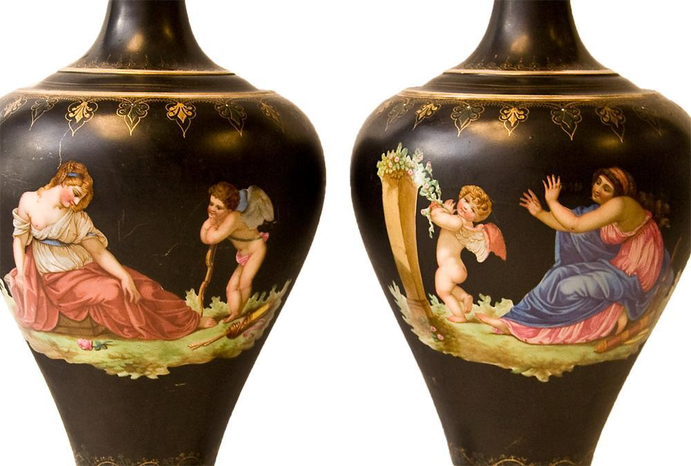 Pair Antique Grand Tour Neoclassical Greek Style Paris Porcelain Vases