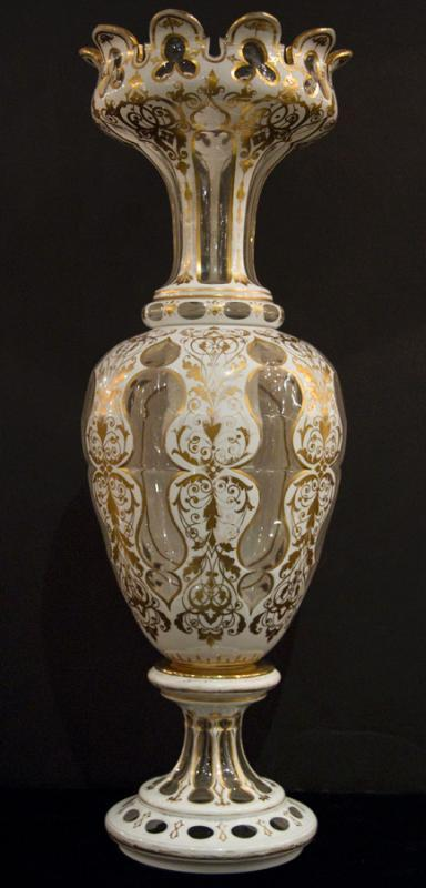 Monumental Antique Bohemian Gilt Floral Painted Cased Overlay Glass Vase