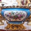 Antique Sevres Celeste Bleu Gilt Bronze Mounted Centerpiece Bowl
