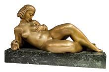 Art Deco Bronze Odalisque Sculpture of Cleopatra