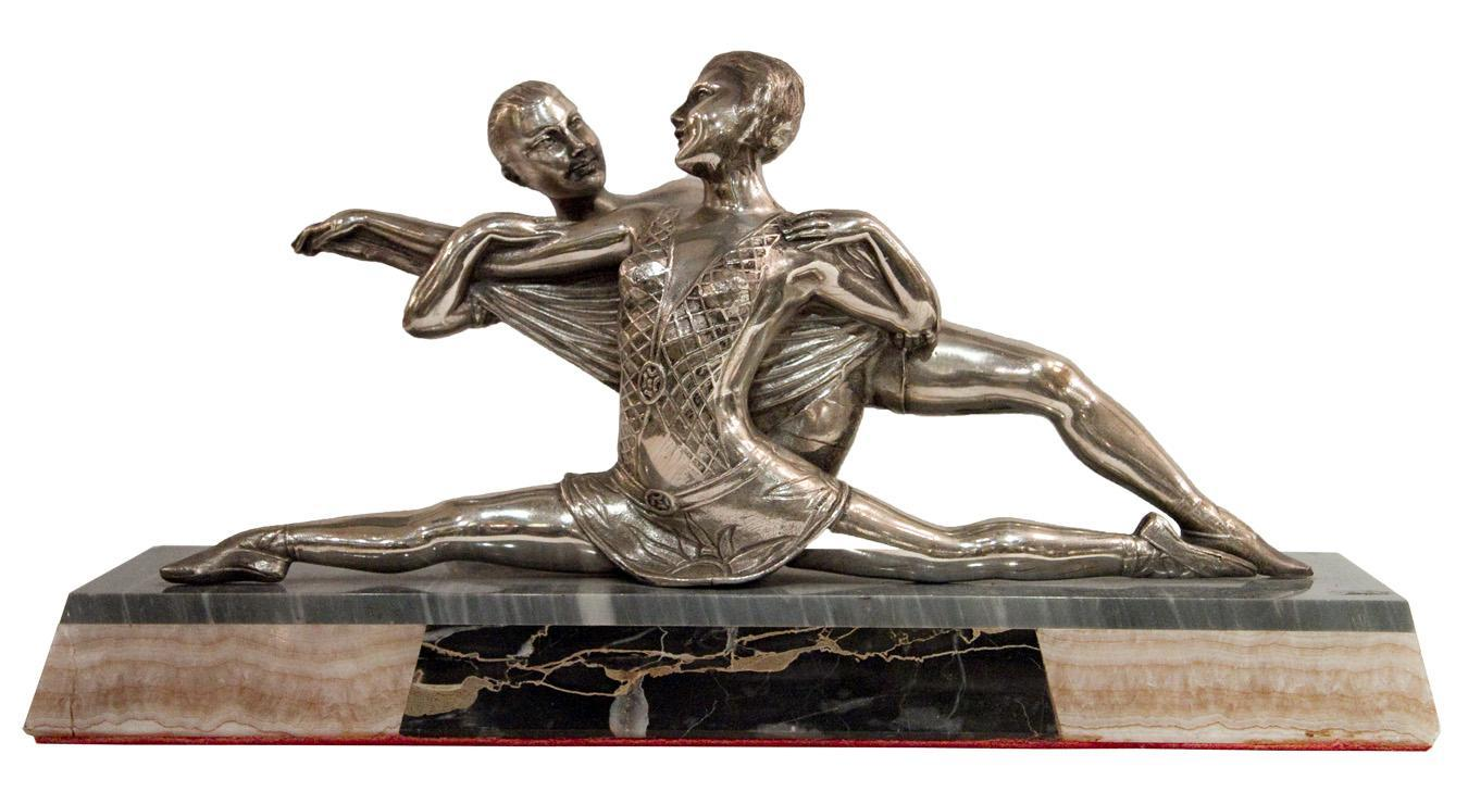 French Art Deco Silvered Metal Ballerina Ballet Dancer Sculpture Statue