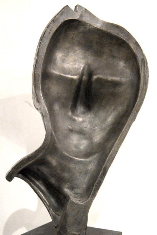 Mid-Century Modern Silvered Metal Mask Bust Sculpture on Black Pedestal