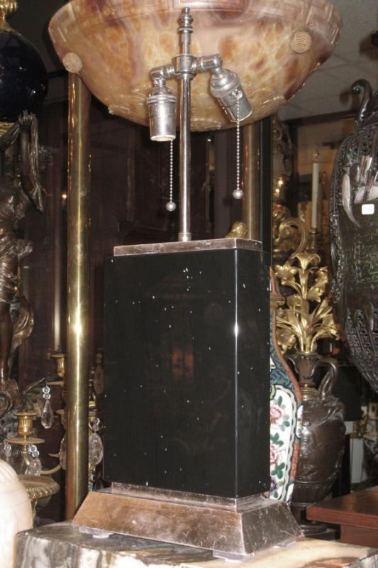Pair Black Obsidian Stone & Silver Gilt Table Lamps