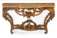 Antique French Louis XV Period Carved Beechwood Console Pier Table