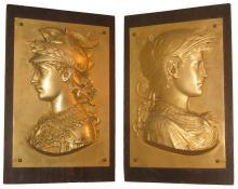 Pair Antique Greek Revival Gilt Metal Relief Plaques Depicting Soldiers