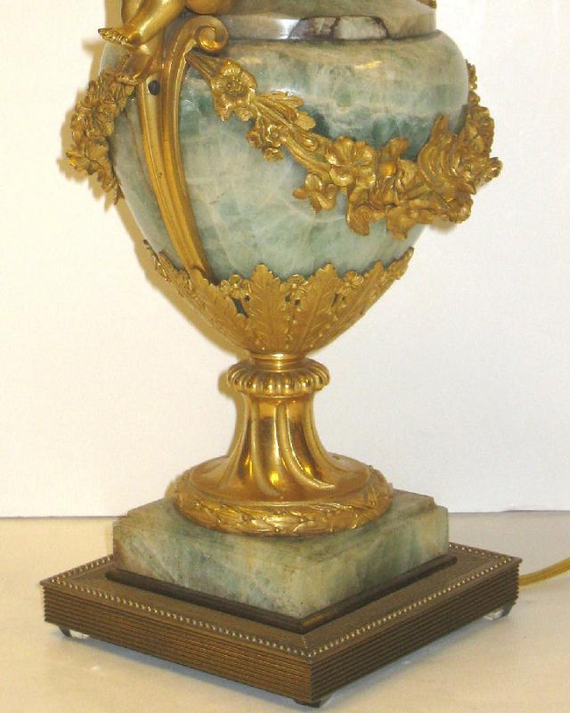 Antique Louis XV/XVI Georgian Style Gilt Bronze & Onyx Stone Urn Table Lamp