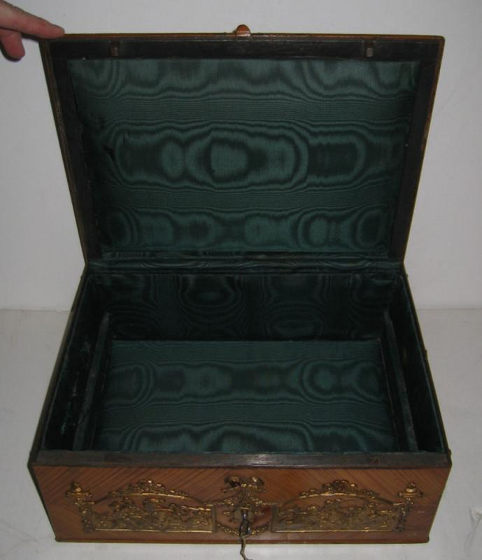 Antique Renaissance Revival Enamel Bronze Mounted Jewelry Box Casket