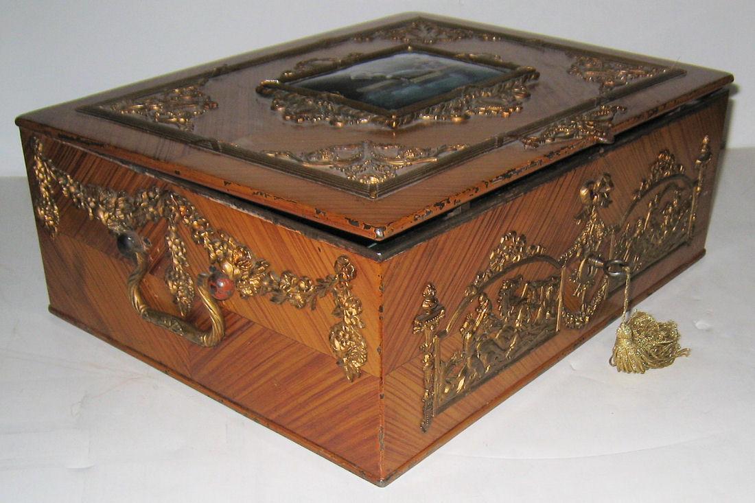 Antique Renaissance Revival Enamel Bronze Mounted Jewelry Box Casket